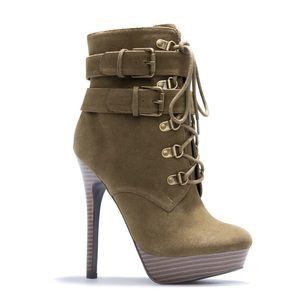 Natalia Olive Platform Lace Heeled Booties